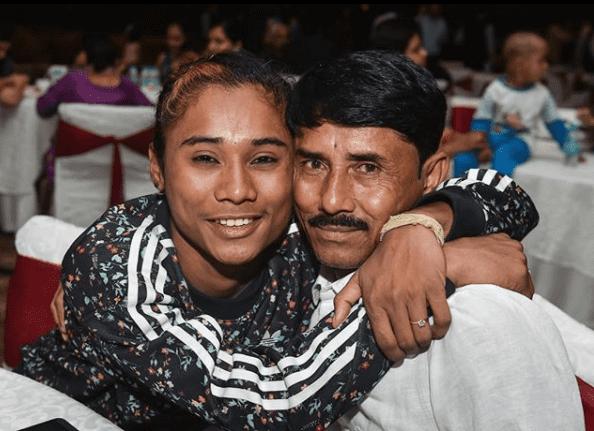 Hema Das with her Father Ronjit Das