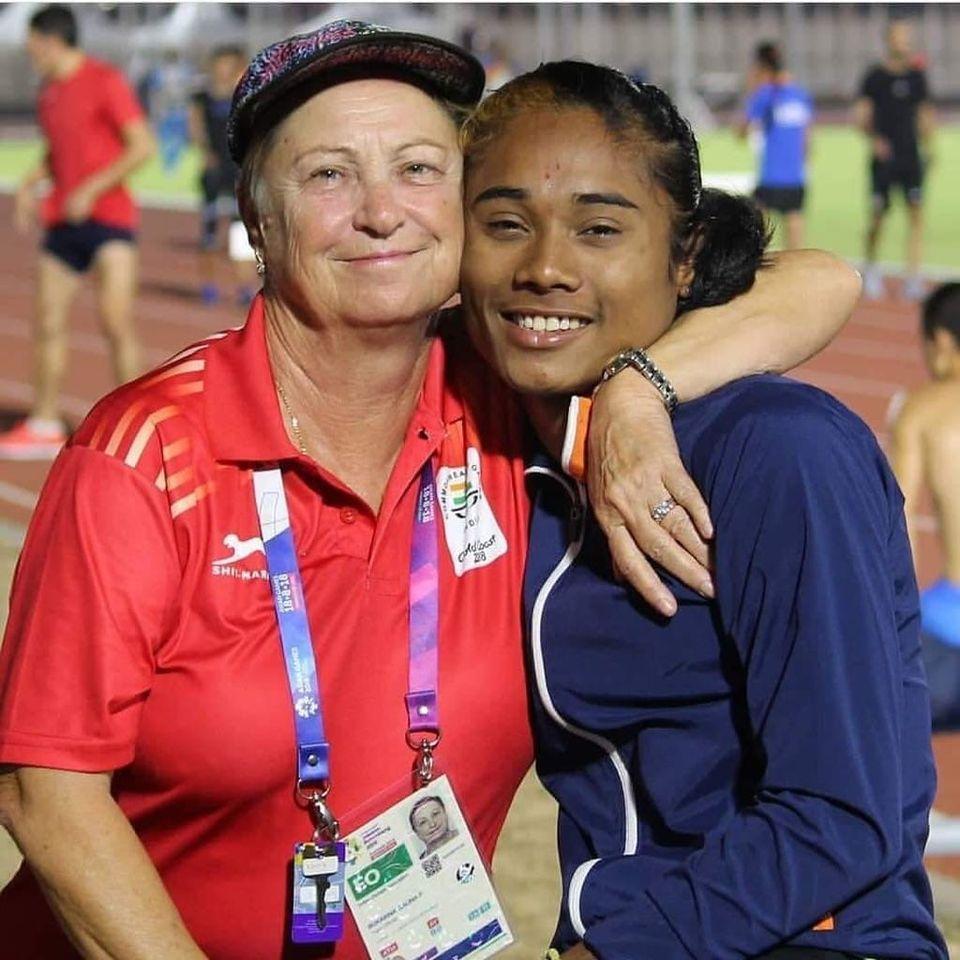 Hema Das with her coach Galina Bukharina
