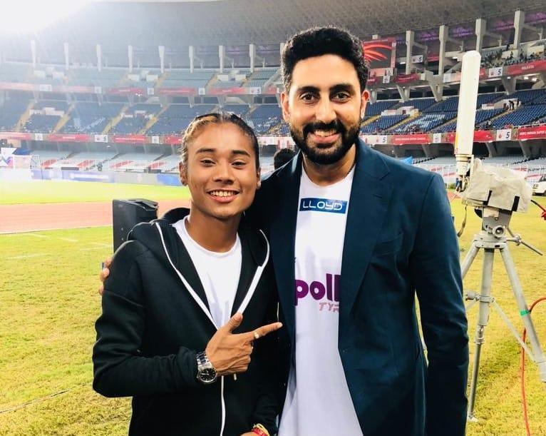Hima Das with Abhishek Bachchan