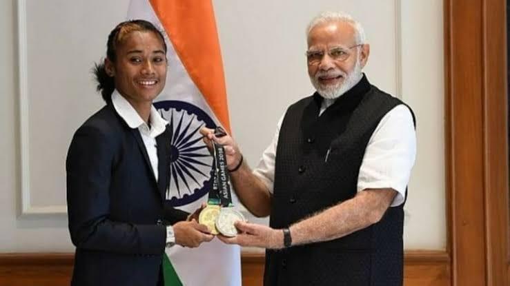 Hima Das with Prime Minister Narendra Modiji