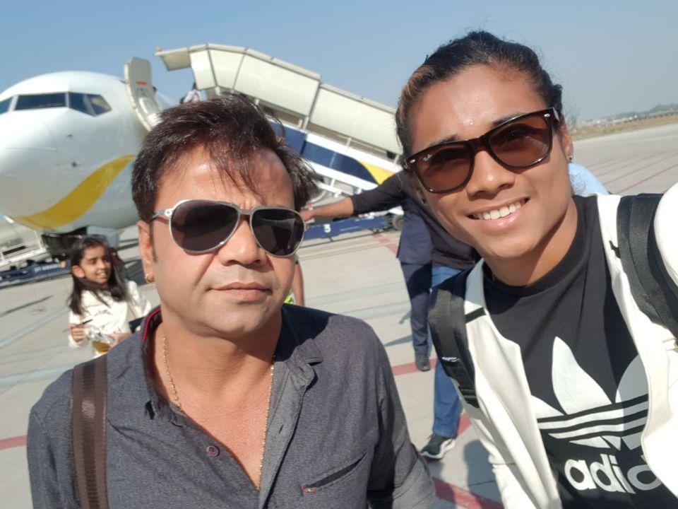 Hima Das with Rajpal Yadav