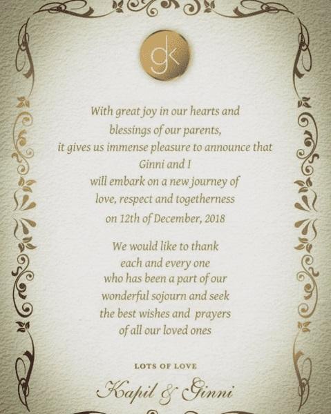 Marriage Card of kapil Sharma & Ginni Chatrath
