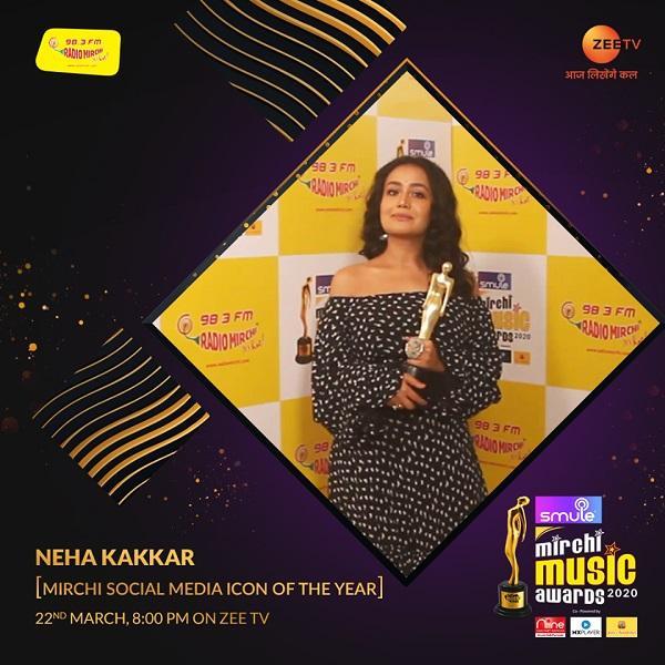 Neha kakkar (Mirchi Social Media Icon of the year 2020)