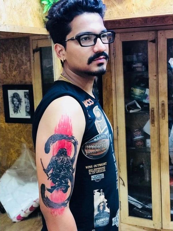 Haarsh Limbachiyaa's Samurai Tattoo on Right Bicep