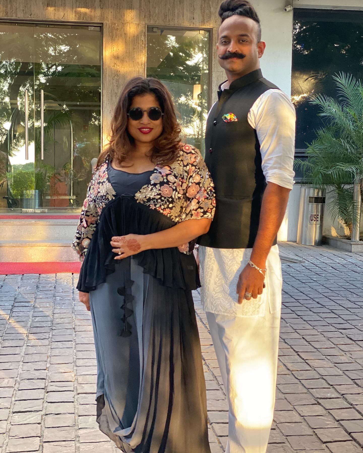 RJ Malishka with her boyfriend Kirthi Shetty