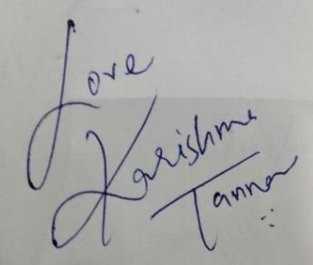 karishma Tanna signature
