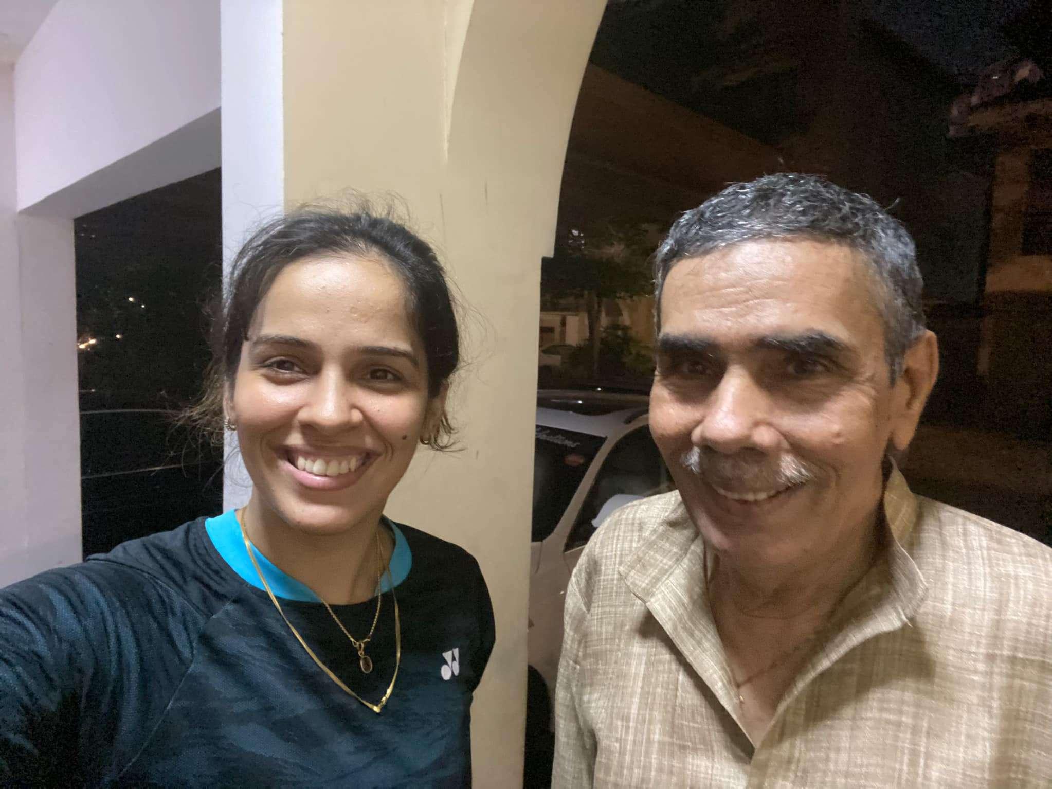 Saina Nehwal with her father Harvir Singh Nehwal