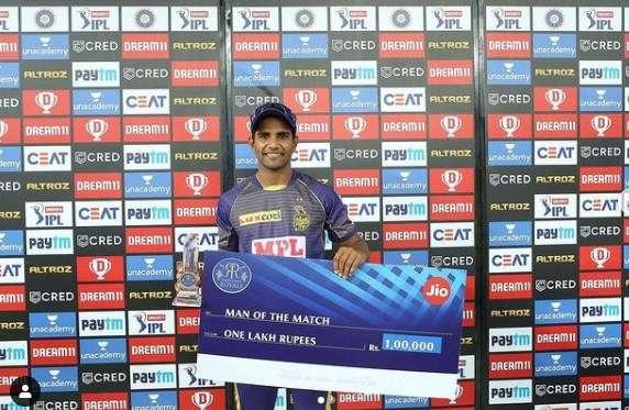 Shivam Mavi receive first man of the match award