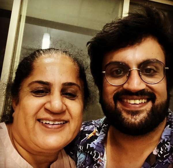 Karunesh Talwar with his mother