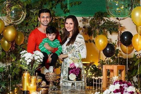 Sania Mirza with her husband Shoaib Malik and son Izhaan Mirza Malik
